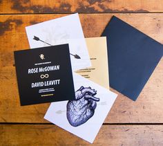 Rose McGowan's wedding invitations - designed by her hubby, artist Davey Detail!