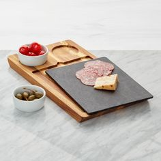 Shop Slate and Wood Serving Board with Bowls. This handsome design unites warm acacia wood and cool slate in a serving board that optimizes serving options. Slate Cheese Board, Slate Board, Cheese Boards, Food Serving Trays, Serving Board, Crate And Barrel, Bowls, Cozy Christmas, Christmas Ideas