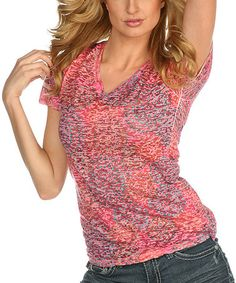 Another great find on #zulily! Rose & Blue Abstract V-Neck Tee #zulilyfinds