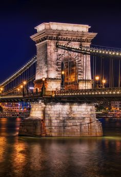 The Chain Bridge connecting Buda and Pest, Budapest, Hungary