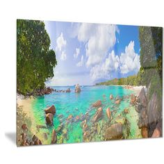 Designart 'Beach Anse Lazio at Seychelles' Landscape Photo