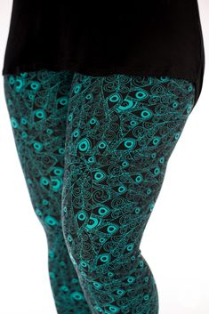 Teal and black, Flaunt It is our new peacock feather patterned leggings from SweetLegs. Size inclusive, we offer them in sizes petite size, one size, plus size and Patterned Leggings, Feather Pattern, Nice Legs, Petite Size, Classic White, Mom Style, Clothing Items, Ankle Booties
