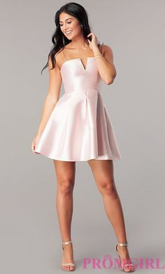 Short Satin Homecoming Dress with Notched Neckline Cute Short Dresses, Hoco Dresses, Satin Dresses, Sexy Dresses, 8th Grade Prom Dresses, Homecoming Dresses Under 100, Ring Dance Dresses, Prom Girl, Online Dress Shopping