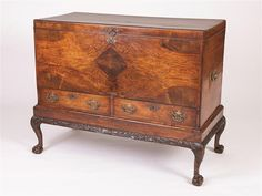 English Century Walnut Horizontal Chest on Stand Hope Chest, 18th Century, Storage Chest, Auction, English, Cabinet, Antiques, Furniture, Home Decor