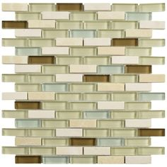 Merola Tile Tessera Subway York 11-3/4 in. x 11-3/4 in. x 8 mm Glass and Stone Mosaic Tile-GDMTSWY - The Home Depot