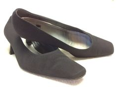 "Classic Black Canvas Stuart Weitzman 2"" Heels Size 8 5M | eBay"