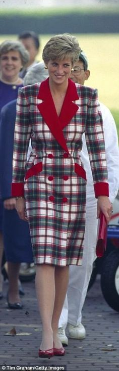 Princess Diana in plaid.