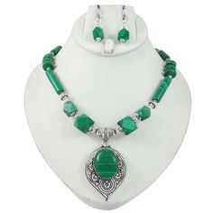 Malachite Stone Silvertone Necklace Earring Set Women Fashion India Jewellery #iba #NotSpecified