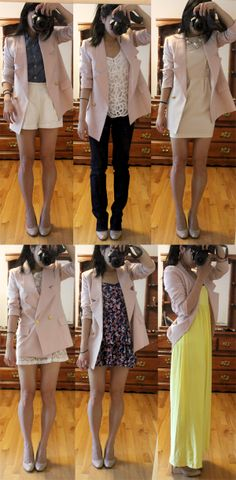 2012  wearing a denim top with white shorts (top left). would look cute with this blazer, My favorite look of the bunch has to be pairing the blazer with a shorter white dress (top right) - my friend Cat helped me buy the J. Crew Raindrop Lace Dress