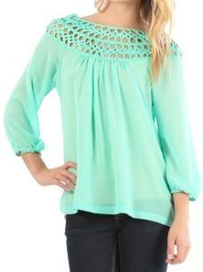 Mint Woven Detail Top with Zipper - $36.99 : FashionCupcake, Designer Clothing, Accessories, and Gifts