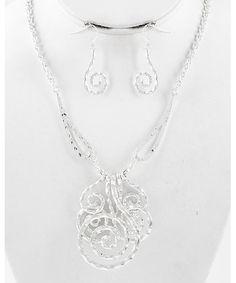 436393 Silver Tone / Lead&nickel Compliant / Metal / Pendant Necklace & Fish Hook Earring Set