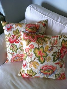 Orange Pink Green Blue and Brown floral pillow cover, decorative pillow, throw pillow, 18x18 pillow