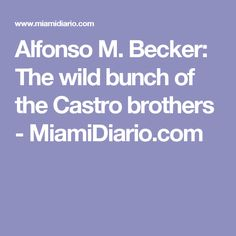 Alfonso M. Becker: The wild bunch of the Castro brothers - MiamiDiario.com
