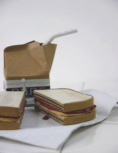 SB: Patianne Stevenson peanut butter and jelly sandwich cardboard. I feel like this talks about school lunches. Cardboard Sculpture, Food Sculpture, Cardboard Paper, Cardboard Design, Paper Sculptures, Cardboard Kitchen, 3d Art Projects, Paper Art, Paper Crafts