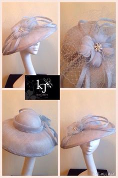 Pale blue downturned brim with sinamay loops veiling fan and feather flower #ascot #millinery #readytowear
