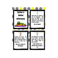 Cartes à tâches sur les inférences Higher Order Thinking, Thing 1, Teaching French, French Language, Best Teacher, Teaching Reading, Fourth Grade, Task Cards, Kids Learning