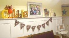 ADORABLE Thanksgiving Mantle - LOVE LOVE LOVE the Turkey Gobble:)