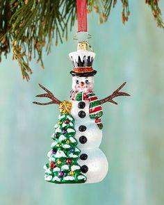 H8CB8 Christopher Radko Snowy Sparkler Christmas Ornament
