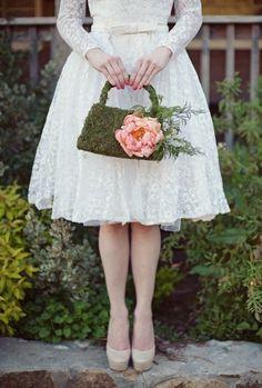Whimsical Moss Wedding Bouquet Ideas 7
