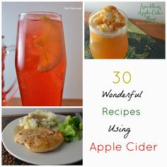 So many ways to use apple cider! Drinks, desserts and even savory recipes! 30 Wonderful Recipes Using Apple Cider from Hot Eats and Cool Reads