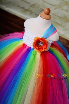 Rainbow Tutu Dress for pageants weddings birthdays or dress up 12m 18m 2t 3t 4t. $99.95, via Etsy.