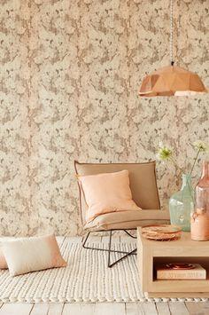 Eijffinger Bloom pink and orange interior How To Hang Wallpaper, Home Wallpaper, Luxury Home Decor, Luxury Homes, Floor Design, House Design, Orange Interior, Property Design, Flooring Options