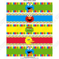Sesame street printable Water bottle labels DIY Mum Birthday Gift, Birthday Party Tables, Elmo Birthday, 2nd Birthday Parties, Birthday Cakes, Sesame Street Signs, Elmo Sesame Street, Sesame Street Birthday, Sesame Streets