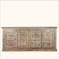 Reclaimed Wood Rustic Large Storage Sideboard Buffet Cabinet