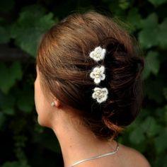 BRIDAL HAIR PINS - wedding hair accessories set of 3 cream color crochet flowers glass pearls very oryginal. $20.00, via Etsy.