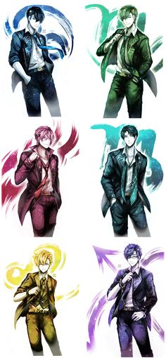 Star/ zodiac series from aku-usagi ... cancer Haru, scorpio Makoto, aquarius Rin, virgo Sousuke, leo Nagisa, sagittarius Rei ... Free! - Iwatobi Swim Club, haruka nanase, haru nanase, haru, haruka, free!, iwatobi, makoto tachibana, makoto, tachibana, nanase, sousuke, sousuke yamazaki, yamazaki, matsuoka, rin, rin matsuoka, rei ryugazaki, rei, ryugazaki, nagisa hazuki, hazuki, nagisa