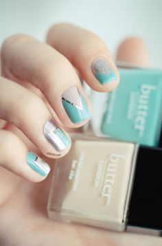 Teal, silver and taupe mani. Just use Scotch tape to get this gorgeous manicure!