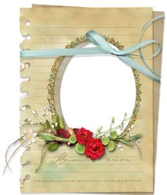 Transparent Paper Photo Frame with Red Roses and Blue Ribbon. Halloween Frames, Christmas Frames, Paper Picture Frames, Photoshop, Old Paper, Blue Ribbon, Collage Sheet, High Quality Images, Red Roses