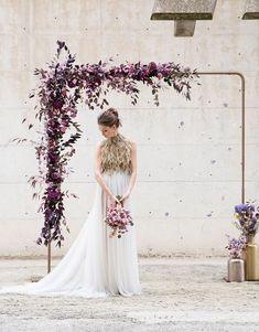 Modern Luxury Violet Hued Floral Decorated Wedding Arch Inspiration #WeddingIdeasGreen
