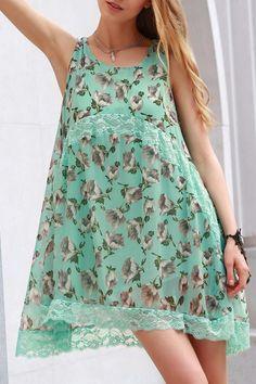 Lace Spliced Straps Tiny Flower Print Dress