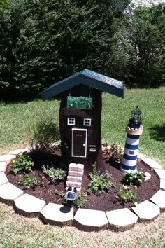 Decorated Tree Stump...theme Was Something For A Lake House.