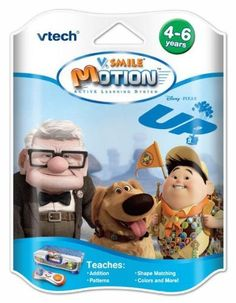 """VTech V-Motion Smartridge: Up. by V Tech. Save 87 Off!. $3.99. From the Manufacturer                Your kids now have a chance to put themselves into one of the newest and most exciting movie adventures! They can join Carl Fredricksen and his companion Russell on their journey to Paradise Falls and their exploration of the surrounding jungle! Put yourself in the adventure and play as characters from the movie. V.Motion """"UP!"""" offers 7 games in 2 areas, Learning Adventure - which retells the…"""