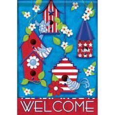 Patriotic Birdhouses Welcome House Flag