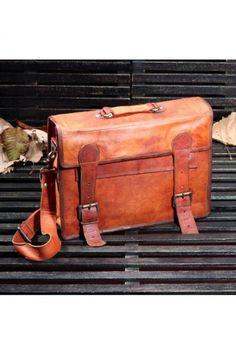 Leather Handbag, Genuine Leather Bag, School Bag, Saddle Bag, Mens Bag | TheHumanEra - on ArtFire