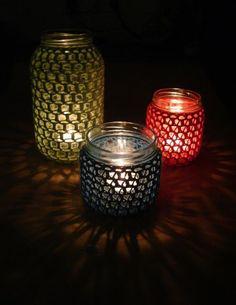 Tejiendo Creando: Reto amistoso nº 6  porta velas de crochet