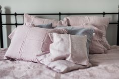 Pink Lavender Washed Linen Pollow Cases And Duvet Cover