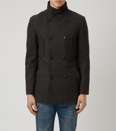 Dark Grey Wool Mix Military Coat