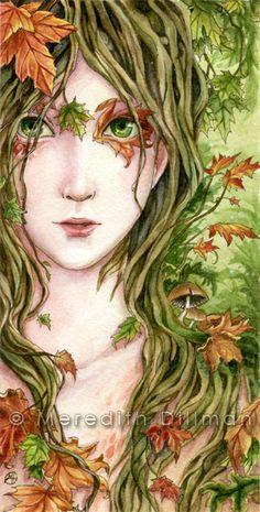 Forest Dryad Portrait-dryad, forest, autumn, painting, illustration,