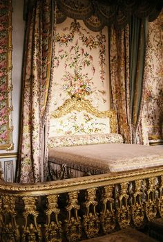 Marie Antoinette's Bedroom at Versailles; the court, in order of rank, stood to watch her behind the banisters(crazy)....