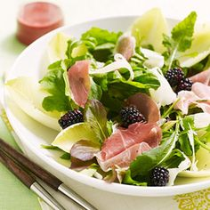 The sweet-savory flavor combo of blackberries, prosciutto, and pecorino is perfect in this gorgeous salad. Serve it along side dinner, or as a light lunch.