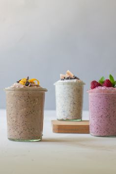 Havre natten over - tre favoritter - Cathrine Brandt - Best Pins Healthy Dessert Recipes, Raw Food Recipes, Snack Recipes, Danish Food, Breakfast Snacks, Breakfast Ideas, Recipes From Heaven, Smoothie Bowl, Smoothies