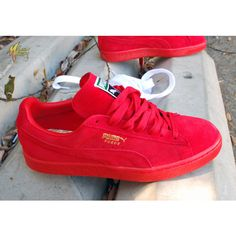 KICKS Puma Suede Classic+ Iced Flame Scarlet ❤ liked on Polyvore featuring shoes, red shoes, suede leather shoes, suede shoes and red suede shoes