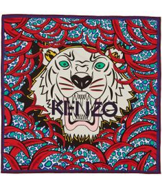 Kenzo Red New Tiger Print Silk Scarf | Scarves by Kenzo | Liberty.co.uk