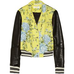 Rag & bone Cambridge floral-print cotton-blend and leather bomber... ($795) via Polyvore