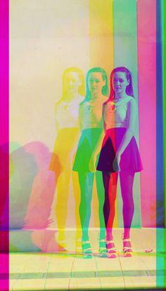 colour bar, girl, reflection, illusion