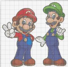 Points de croix *@* cross stitch Mario e Luigi (click to view)